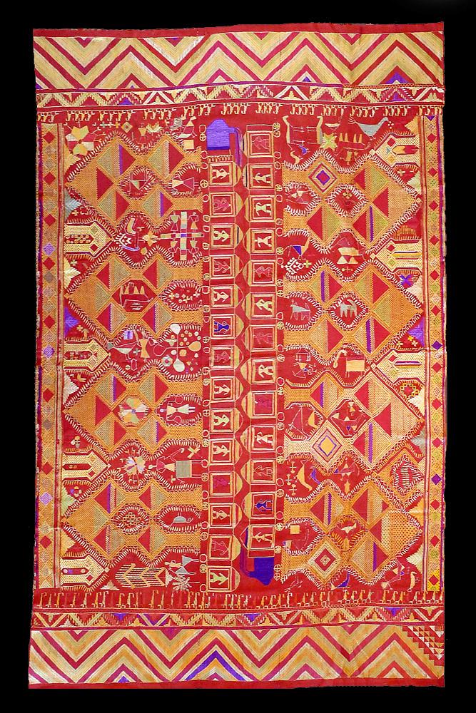 Rare 19th Century Darshan Dwar Phulkari - Temple Textile