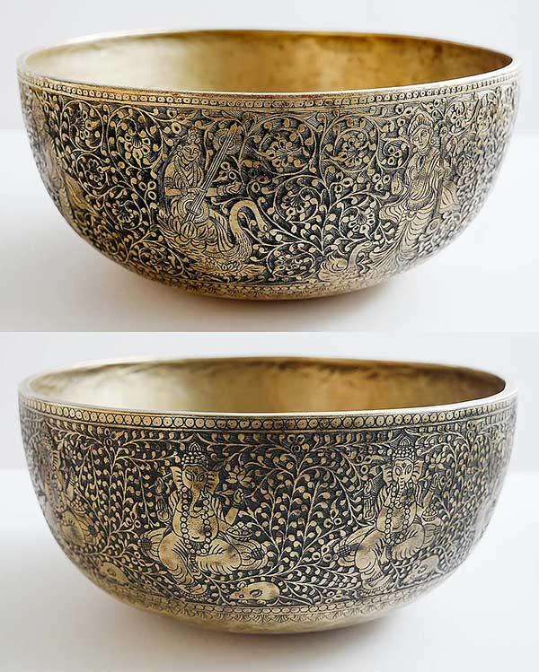 Rare Pair of Huge and Gloriously Engraved Ceremonial Jambati Bowls