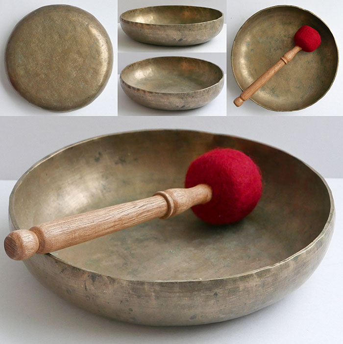 Rare Large Shallow Antique Shaman Singing Bowl – F#3 (182Hz)