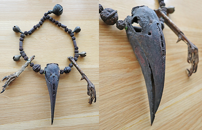 Rare Shaman Protective & Magical Mala Necklace with Hornbeam Skull & Tallons