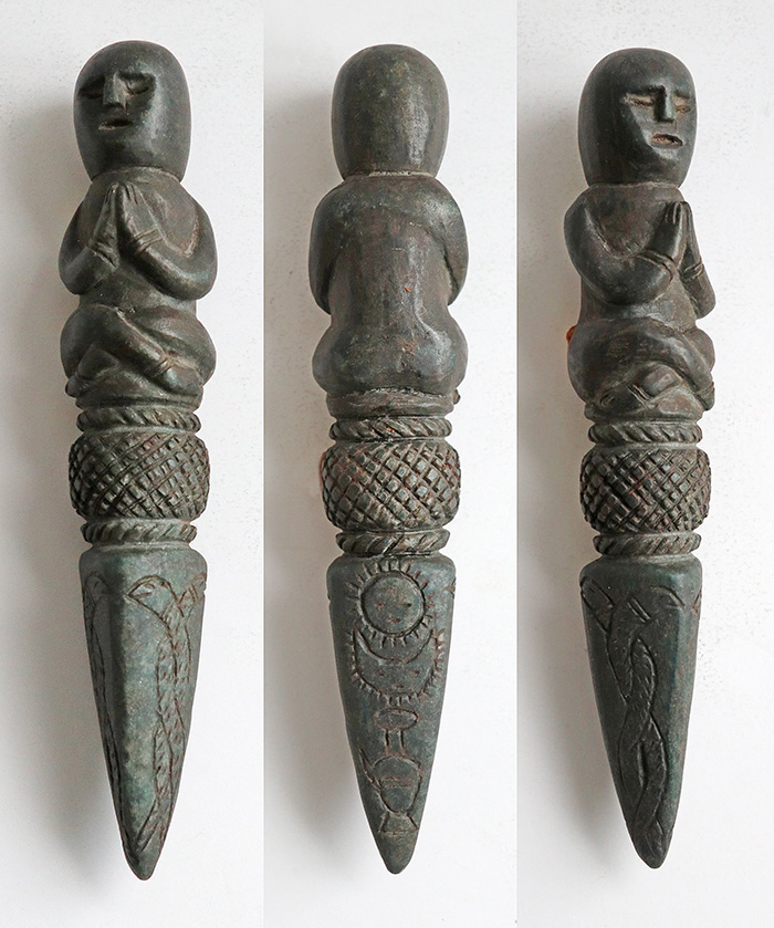Unique Carved Stone Shaman Phurba