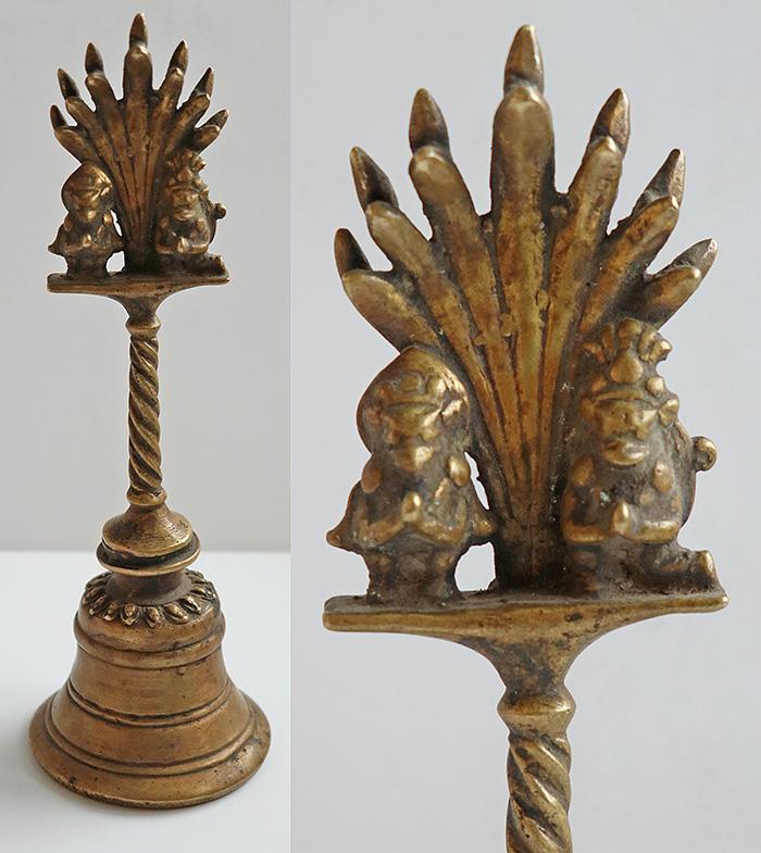 Antique Bronze Temple Hand Bell with Garuda and Hanuman Top