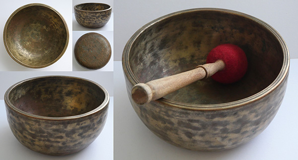Large Extra-Thick Antique Thadobati Singing Bowl – E4 (338Hz)