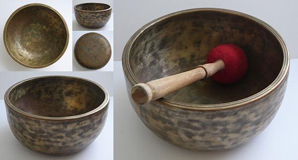 Large Extra-Thick Antique Thadobati Singing Bowl – E4 (338Hz)
