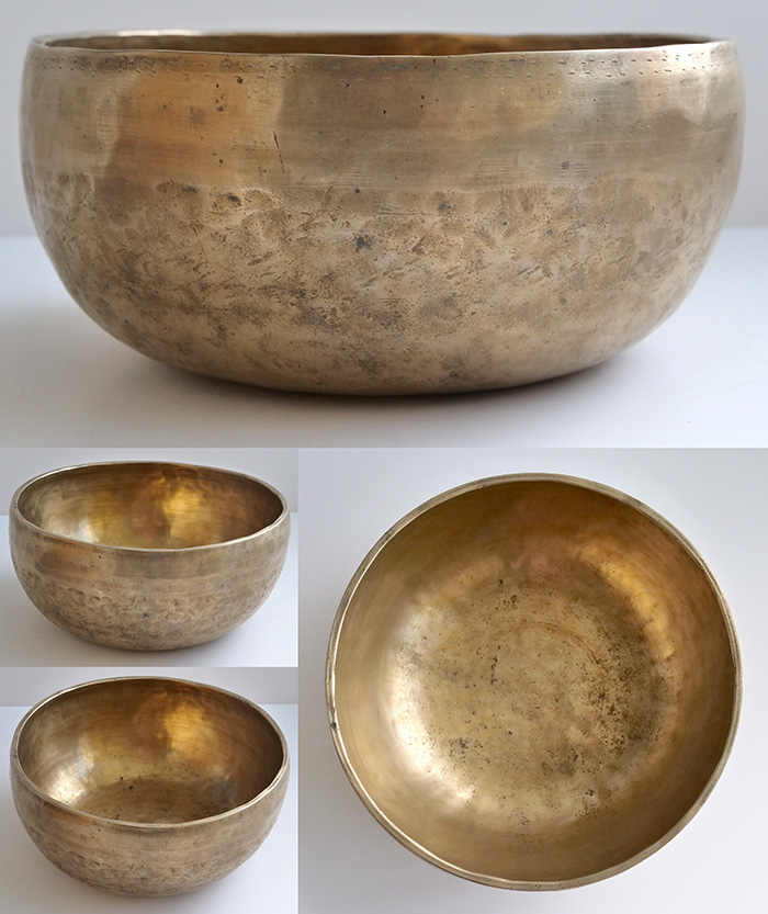 Large Golden Antique Thadobati Singing Bowl – Fabulous Pulsating F#3 & Inscriptions