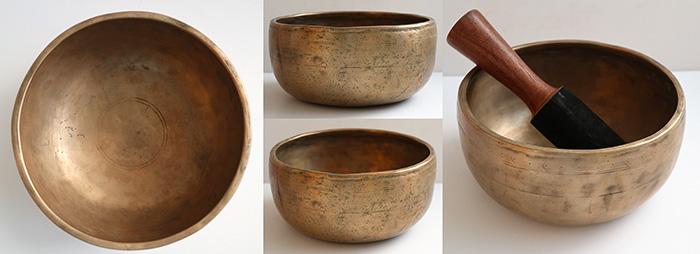 Characterful Antique Thadobati Singing Bowl – E/F4 (339-342Hz) – Sun Motifs