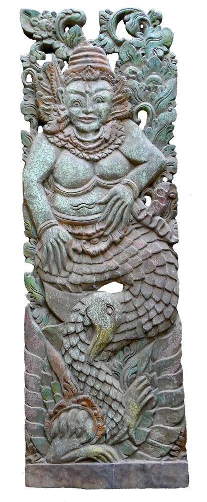 The Goddess Saraswati - Old Carved Panel