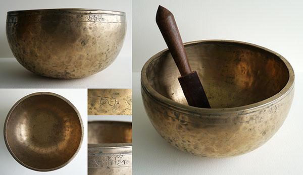 Tibetan Jambati Singing Bowl – Great Sound and 2 Inscriptions!