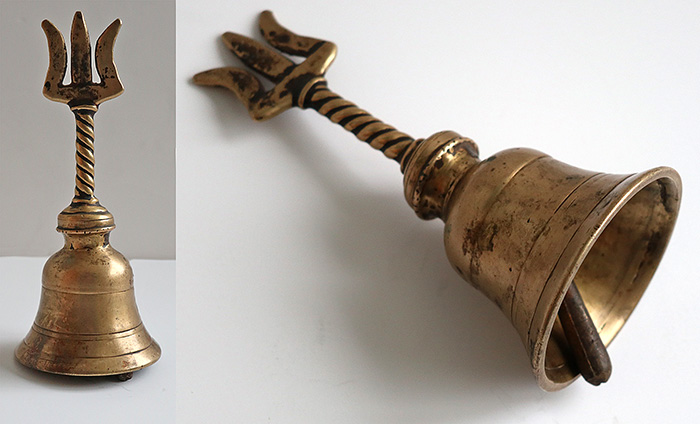 Small Antique Bronze Hand Bell with Trident Top