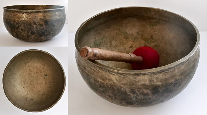 "Medium-Size 9 "" Antique Ultabati Singing Bowl – Concert Pitch C3 (130Hz)"