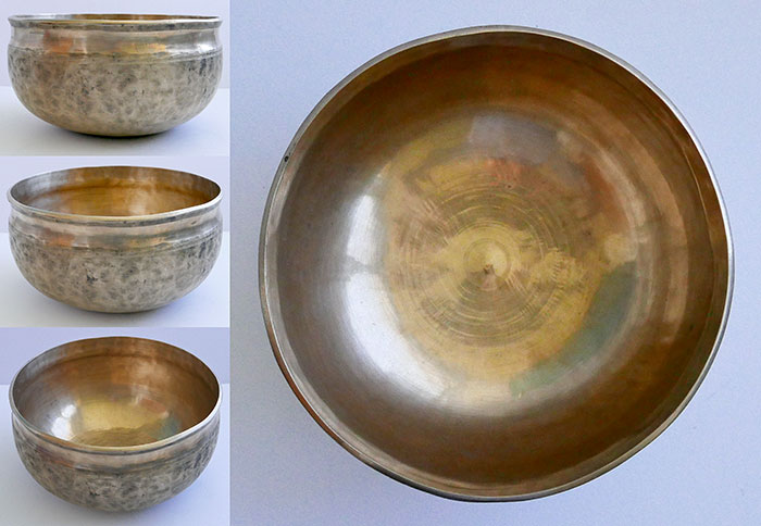 "Large 10 ¼"" Golden Antique Ultabati Singing, Fountain & OM Bowl – F#2/G2 (95Hz)"