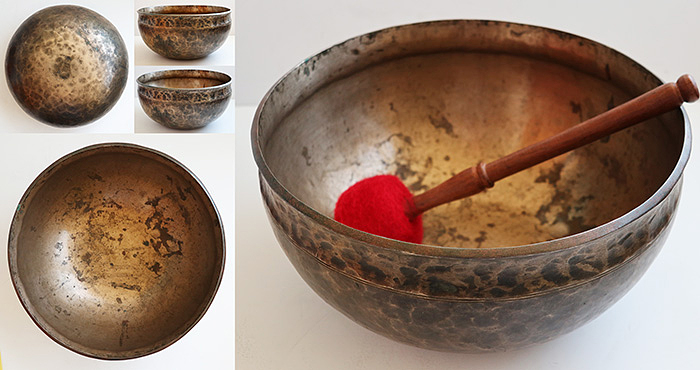 Large 12-inch Antique Ultabati Singing Bowl – Excellent Low Pulsating G2 (95-96Hz)
