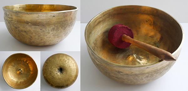 Large Rare Antique Hybrid Ultabati-Lingam Singing Bowl - Inscription