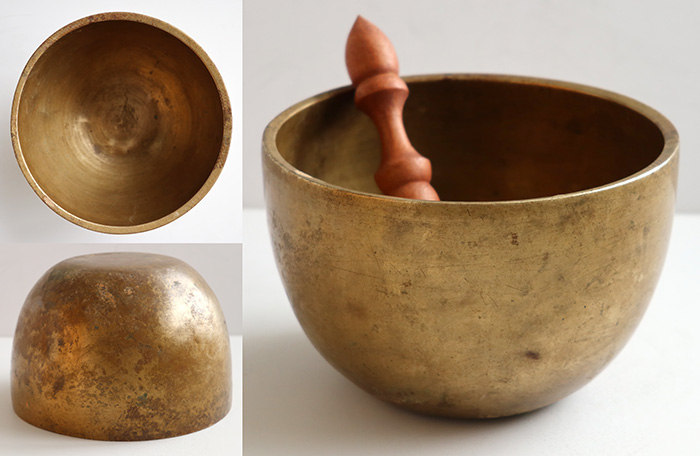 Unique Tall Antique Thadobati Singing Bowl – Superb D4 (301Hz)