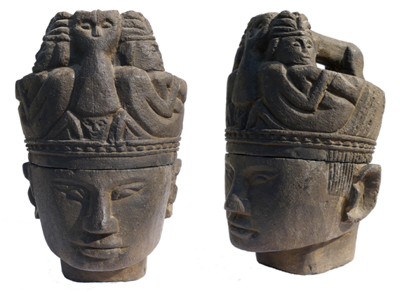 Volcanic Stone Head Container from Sumatra