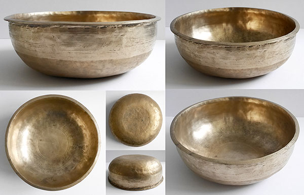 Unusual Large Flange-Lipped Antique Singing Bowl – F#3 (184Hz)