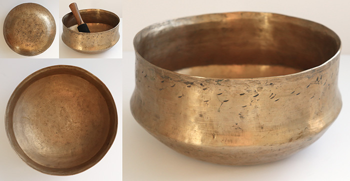 Large Extraordinary Antique Singing Bowl – F3 & A4 – Ritual Gashes & Inscription