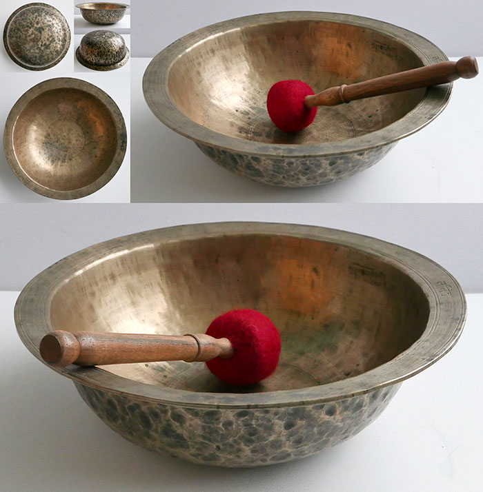 Extraordinary Large Rare Antique Singing Bowl – B3 (242Hz) & Inscription