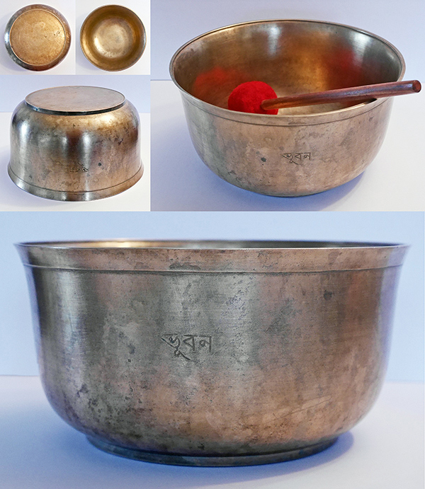 Very Rare Perfect Pitch F3 Antique Singing Bowl – Inscription