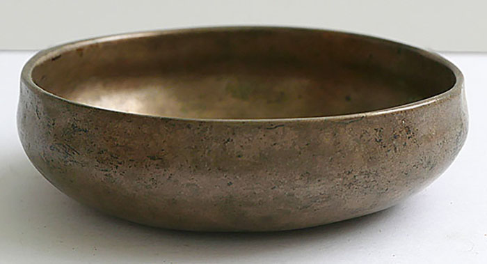 """Rare Tiny 4¼"""" Antique Shaman Singing Bowl – A6 (1756Hz)"""
