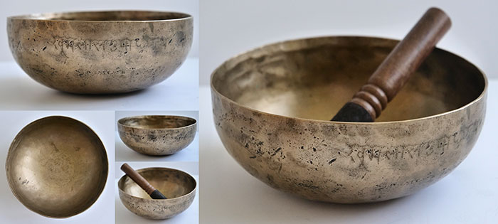 Extremely Rare 17th Century Antique Singing Bowl – Superb A3 & Eb5 and Inscription