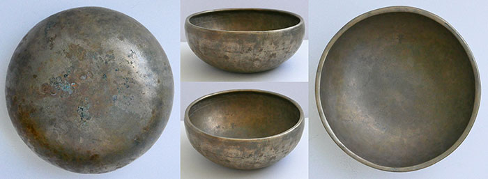 Rare Shallow Antique Singing Bowl – F#4 (376Hz) with Inscription