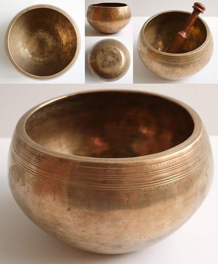 Unusual Antique 'Genie' Singing Bowl – Self-Amplifying Rare A4 (430Hz)